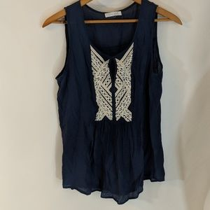 Spense Tops - Boho Smock Top with White Lace Applique Work sz M